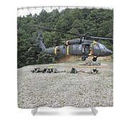 Wolfhounds Air Assault From A Uh-60 Shower Curtain