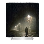 Woman Alone On A Park Avenue Shower Curtain