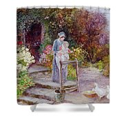 Woman And Child In A Cottage Garden Shower Curtain