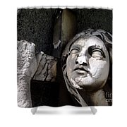 Woman And Cross Shower Curtain