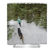 Woman And Dog Walking In Forest Shower Curtain