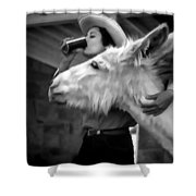 Woman And Donkey Black And White Shower Curtain