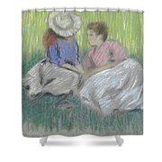 Woman And Girl On The Grass Shower Curtain
