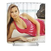 Woman At Anini Bay Shower Curtain by Kicka Witte