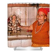 Woman Sadhu At The Ganesh Temple Shower Curtain