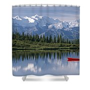 Woman Canoeing In Wonder Lake Alaska Shower Curtain