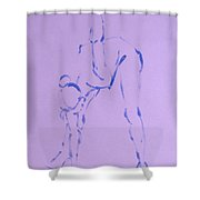 Woman Dancer Stretching Touching Floor Shower Curtain
