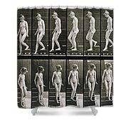 Woman Descending Steps Shower Curtain by Eadweard Muybridge