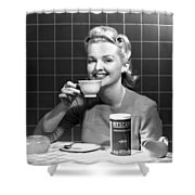 Woman Drinking Nescafe Shower Curtain by Underwood Archives