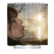 Woman Exhalation Shower Curtain