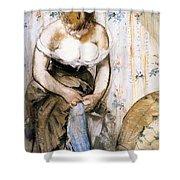 Woman Fastening Her Garter Shower Curtain