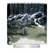Woman Flyfishing Below Waterfall Shower Curtain