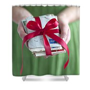Woman Holding A Bundle Of Love Letters Shower Curtain