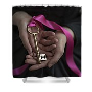 Woman Holding A Golden Key On A Pink Ribbon Shower Curtain