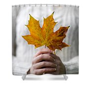 Woman Holding An Autumn Leaf Shower Curtain