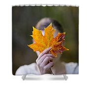 Woman Holding An Autumnal Leaf Shower Curtain