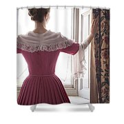 Woman In 18th Century Dress At The Window Shower Curtain