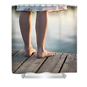 Woman In A Dress On The Edge Of A Wooden Board Walk Shower Curtain