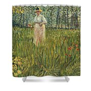 Woman In A Garden Shower Curtain by Vincent van Gogh