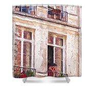 Woman In A Paris Window Shower Curtain