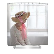 Woman In A Regency Period Empire Line Dress With Straw Bonnet Si Shower Curtain