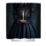 Woman In A Victorian Mourning Dress Holding A Candle Shower Curtain