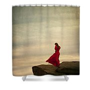 Woman In A Vintage Red Dress On A Windy Clifftop Shower Curtain