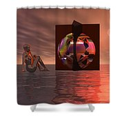 Woman In Contemplation Nude Shower Curtain