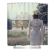 Woman In Front Of A Manor Shower Curtain by Joana Kruse