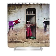 Woman In Front Of The House Democratic Shower Curtain