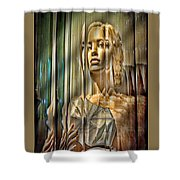 Woman In Glass Shower Curtain