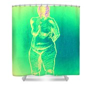 Woman In Green Shower Curtain