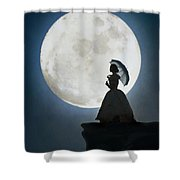 Woman In Historical Clothing On A Cliff With Full Moon Shower Curtain