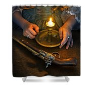 Woman In Historical Gown With Candle And Flintlock Pistol Shower Curtain