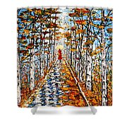 Woman In Red In Fall Rainy Day Shower Curtain