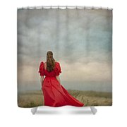 Woman In Red On Moorland Shower Curtain