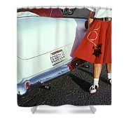 Woman In Red Poodle Skirt And Saddle Shower Curtain