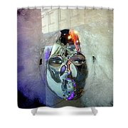 Woman In Silver Mask Shower Curtain
