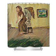 Woman In The Art Gallery Shower Curtain