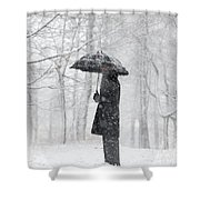 Woman In The Forest With An Umbrella Shower Curtain
