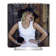 Woman In White Palm Springs Shower Curtain