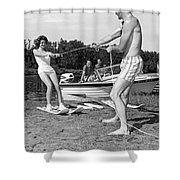 Woman Learning To Water Ski Shower Curtain