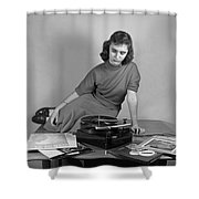 Woman Listening To Records Shower Curtain
