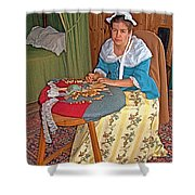 Woman Making Lace In Louisbourg Living History Museum-1744-ns Shower Curtain