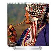 Akha Hill Tribe Woman  Thailand Shower Curtain