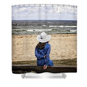 Woman On A Bench Shower Curtain