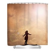 Woman On A Mountain Summit Shower Curtain