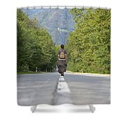 Woman On A Road Shower Curtain
