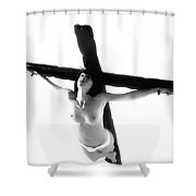 Woman On Crucifix Black And White I Shower Curtain