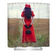 Woman On Field Shower Curtain